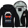 2016 OW Logo 76 Soldado Máscara Súper Cálida Lana de Invierno Patrón de Impresión de Algodón camisetas de los Hoodies Coat