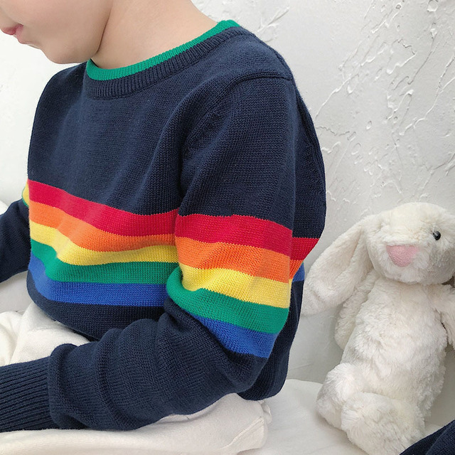baby boy clothes 100% cotton autumn winter sweater infant children kids colorful knitwear rainbow jumper tops 24 months 4 6 year