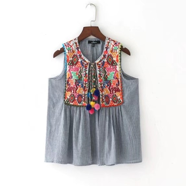 New 2017 Women Vestidos Vintage Sleeveless Embroidery Patch Blouse