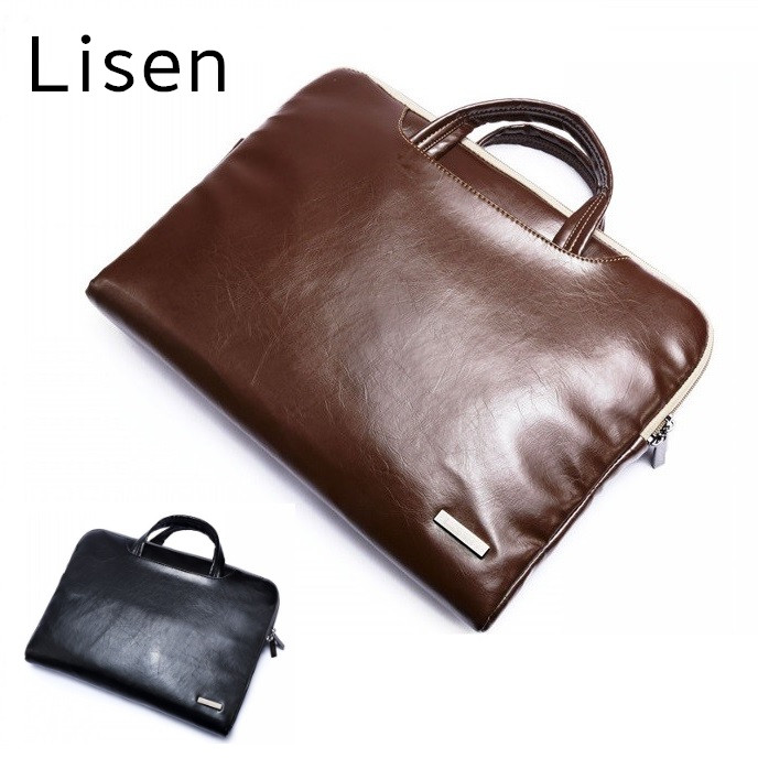"""2019 New Brand Lisen Leather Handbag Bag For Laptop 11"""",13"""",15"""",15.6 inch,Case For MacBook Air,Pro 13.3"""",15.4""""Free Drop Shipping-in Laptop Bags & Cases from Computer & Office"""