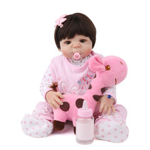 NPK DOLL Reborn Baby Lifelike Newborn Girl Babe Boneca Lovely Pink Princess Realistic Christmas Gift Soft Silicone 22 inch Kids(China)
