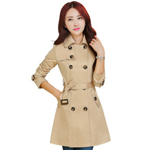 2016 Hot Sale Spring Women Double-breasted Long Trench Coat for Women Brand Female Casacos Windbreaker Slim Trenchcoat With belt