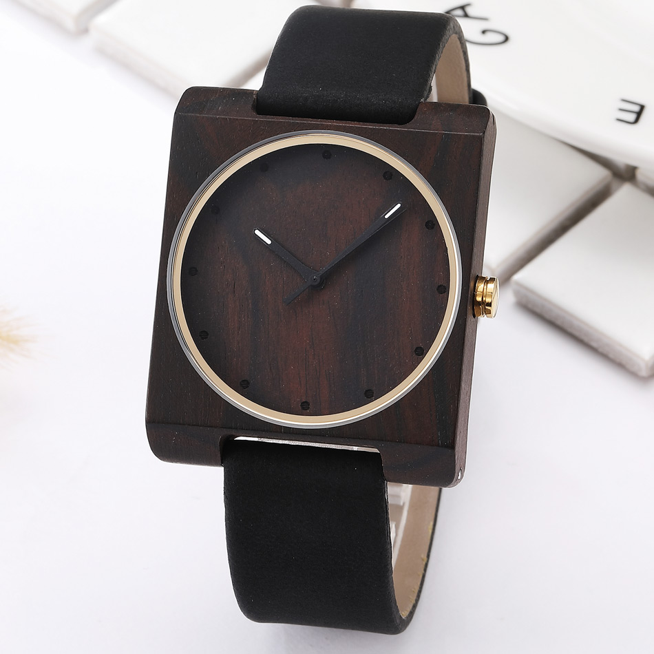 100% Natural Wood Watch Women Quartz Watch Elegant Square Wooden Wristwatch Analog Lightweight Ladies Clock Relogio Feminino