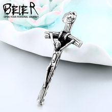 BEIER Stainless steel Vintage Classic Punk Statement faith jesus cross Trendy Male pendant necklace Men Fashion Jewelry WR-P035(China)