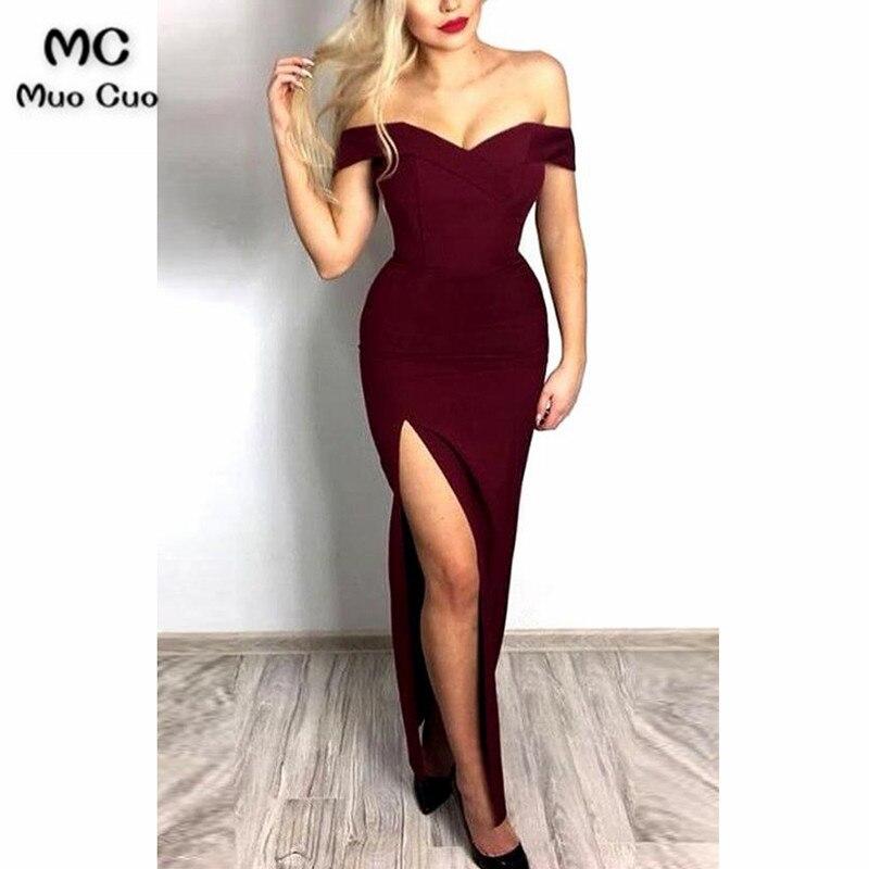 2018 Burgundy Mermaid Evening Dresses Long Side Slit Sweetheart Elastic Satin Off Shoulder Formal Evening Party