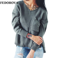 2017 New Sweater Women Europe And The United States Wind V Neck Pocket Pullover Openwork Jacket