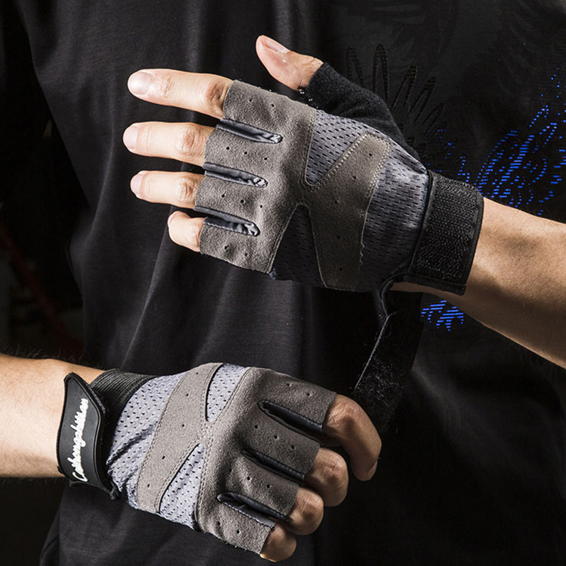 Unisex Fitness Gloves Men Dumbbell Equipment Horizontal Bar Exercise Wrist Cycling Half Finger Elastic Gloves Tactical Mitts D28