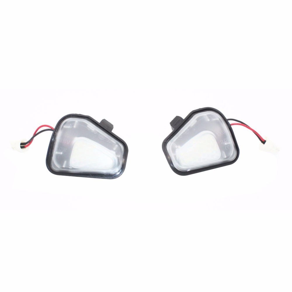 2x Error Free 18 LED White Car Under Side Mirror Puddle Light  Lamp Auto Bulb Car Light Source Fit for VW Passat EOS Scirocco CC 10pcs led car interior bulb canbus error free t10 white 5730 8smd led 12v car side wedge light white lamp auto bulb car styling