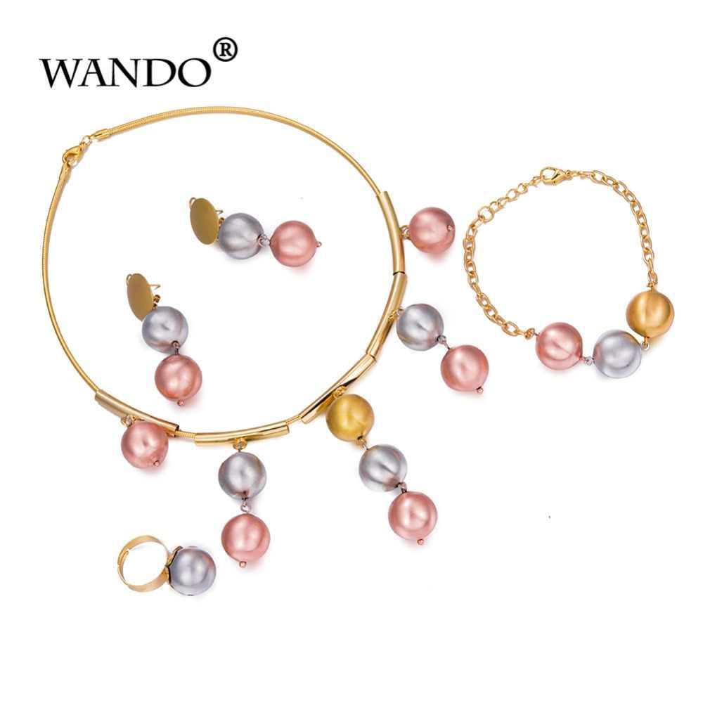 WANDOเอธิโอเปียเครื่องประดับชุดขาวทองกุหลาบสีบอลเครื่องประดับแอฟริกันลูกปัดชุดเอริเทรี/ไนจีเรีย/อาหรับผู้หญิงพรรคของขวัญWS8