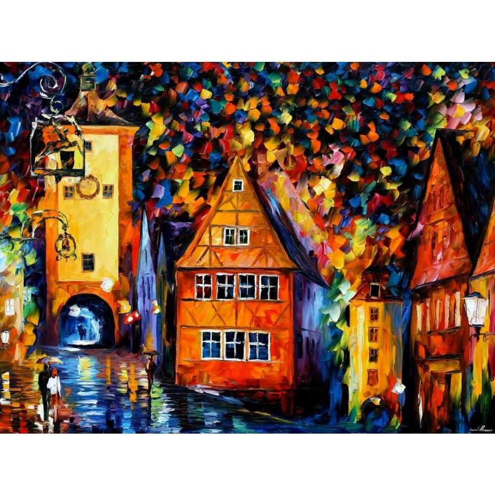 Landscape Oil Painting Pictures Germany Medieval Rothenburg Palette Knife Canvas Wall Art Modern
