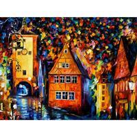 Pittura a Olio di paesaggio immagini germania medievale rothenburg tavolozza coltello su tela wall art modern home decor