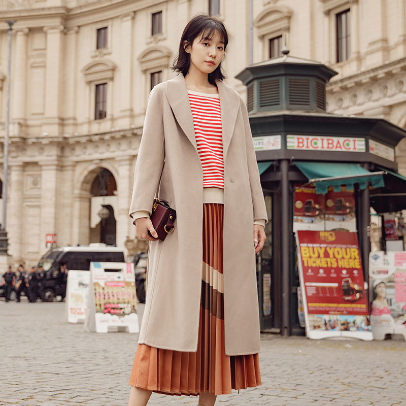 Brown Turn Automne Down Confortable Apricot camel Stitch Manteau Femmes 2019 Inman Printemps light Ceinture De Ouvert Col Laine wgU6xXq