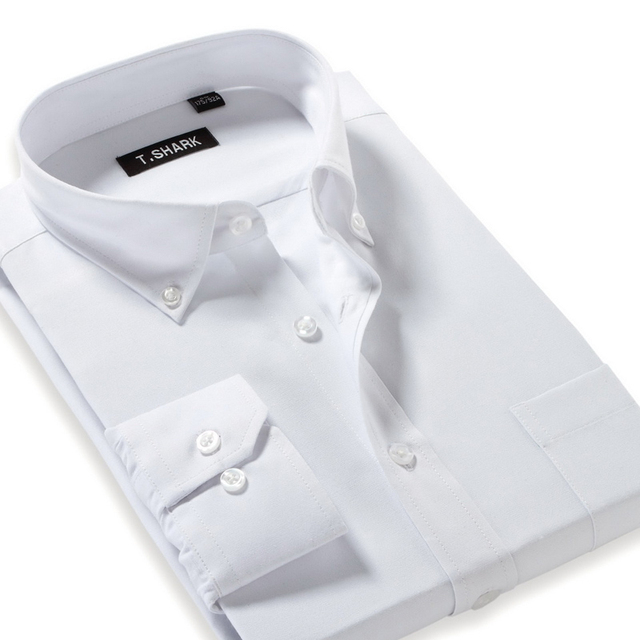 Autumn 2016 Men's Long-Sleeve Modal&Oxford Formal Shirt Button Down Regular Fit Business Casual White Solid Dress Shirts