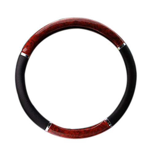 Promotion! 35710P Black Steering Wheel Cover with Woodgrain Design and Chrome Trim