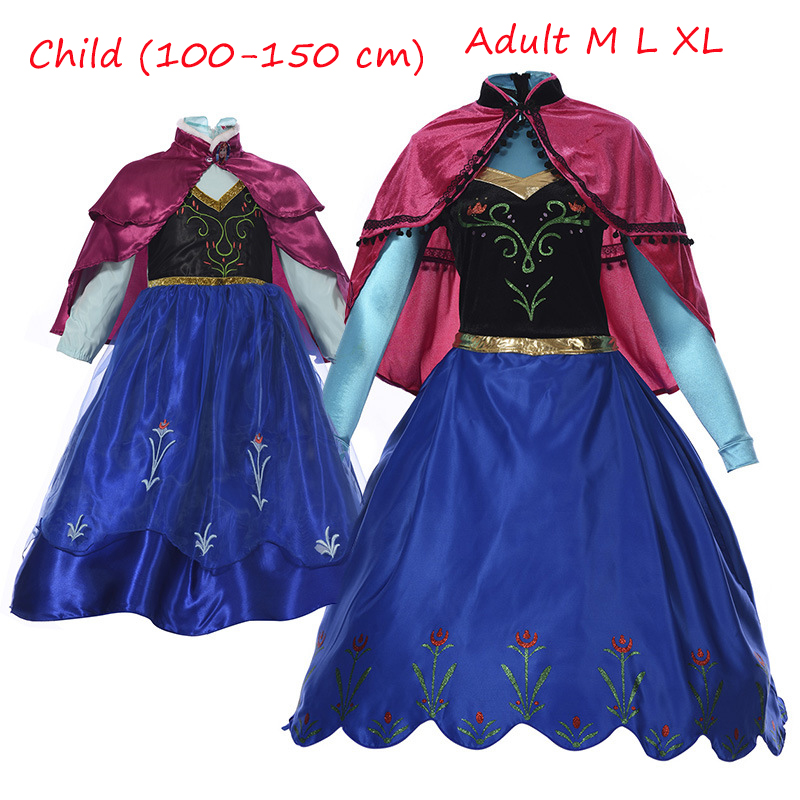 Hot New Anna Princess Dress Christmas Children Clothing Adult Long-sleeve Dresses and Red Cloak Halloween Cosplay Costume