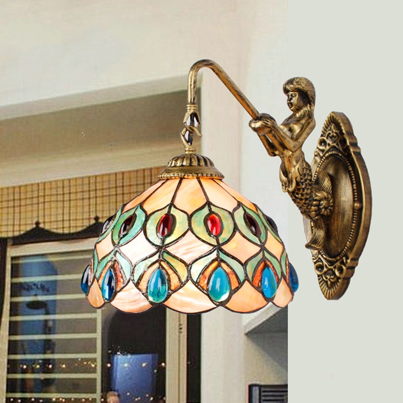 Tiffany shell vintage Stained Glass Iron Mermaid wall lamp indoor lighting bedside lamps wall lights for home AC 110V/220V E27 novelty led wall lamps glass ball wall lights for home decor e27 ac220v