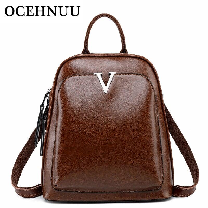 OCEHNUU New Luxury Women Shoulder Bag Backpack Genuine Leather Designer Rucksack Backpack Women School Bags Female 2018 Zipper цена