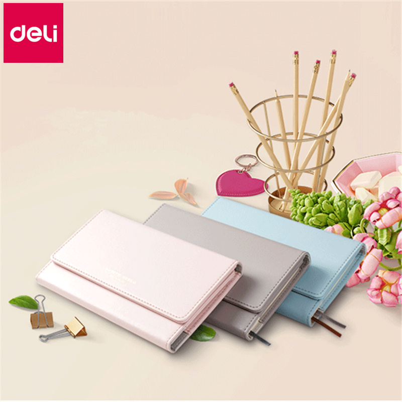 Deli Unique Wallet Design Notebook PU Leather Cover Note Book Organizer Planner Business Manager Use Office Lady New Year Gift