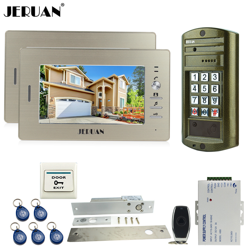 Home Metal Panel Waterproof Password Keypad HD Mini Camera + 7 Inch Video Door Phone Intercom System Kit 2 Monitor + 1 Outdoor