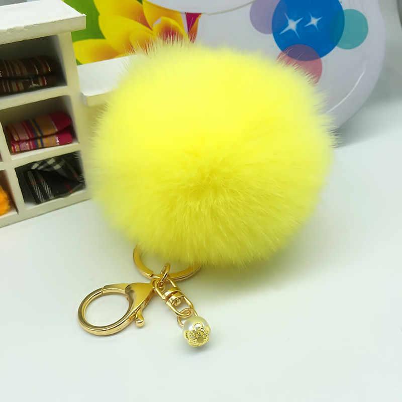 Милые искусственный мех кролика мяч брелок пушистый помпон меховой шарик подвесные сумочка для ключей аксессуары Для женщин брелок