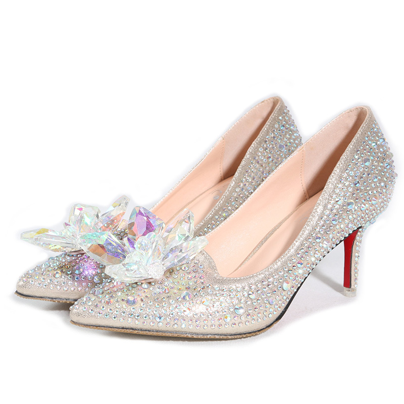 Cinderella glass slipper pointed heels Red bottom Women Pumps Leather diamond wedding shoes High Heels Pointed Toe