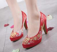 Satin shallow mouth waterproof platform high heel red hi word embroidered Chinese traditional wedding shoes