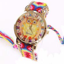 a905cc178ee6 Gnova Platinum Arco Iris mujeres étnicas moda búho reloj hippie Encaje  trenzado cadena reloj chica vintage