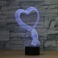 Heart Love Valentine 3D Night Light For Gifts Color Changing Table Lamps