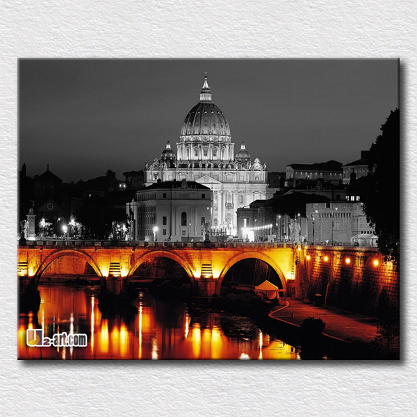 Home decoration wall art western city building picture reproduction canvas prints architecture art painting