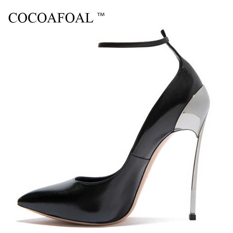 COCOAFOAL Woman Mary Janes High Heels Shoes Big Size 33 43 Party Valentine Shoes Metal Decoration Pointed Toe Wedding Pumps 2018 sarairis new plus size 31 43 spring mary janes shoes high heels party platform shoes woman wedding shoes women red pumps