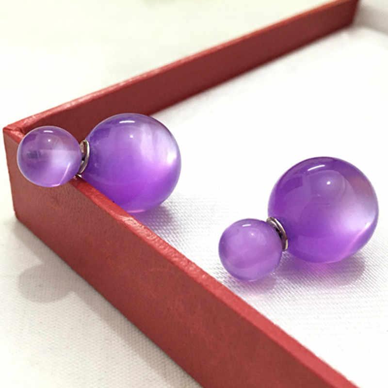2018 Fashion Nieuwe Collectie Imitatie Opal snoep kleur dubbele bal oorbellen voor vrouwen 4ED100