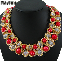 Statement Fashion Necklace For Women 2017 Vintage Collar Gold Chain Big Bead Pearl Crystal Choker Necklaces
