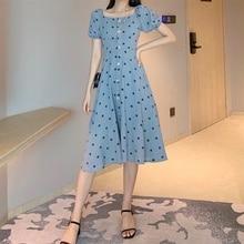 Elegant Women's Long Dress Puff Sleeve Polka Dot Print Summer Maxi Dress Plus Size Women Clothing