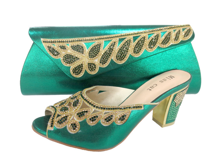 ФОТО TP02 2016 High quality Nigeria GREEN color wedding shoes,Italian shoes and bags set to match free shipping size 38-42