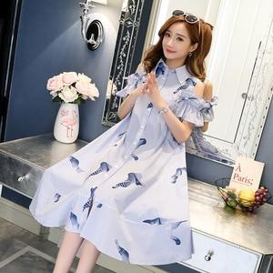 Image 3 - 2019 סטרפלס חולצה חצאית יולדות הנקת שמלות נשים בהריון בגדי הריון שמלות Vestidos הריון סיעוד