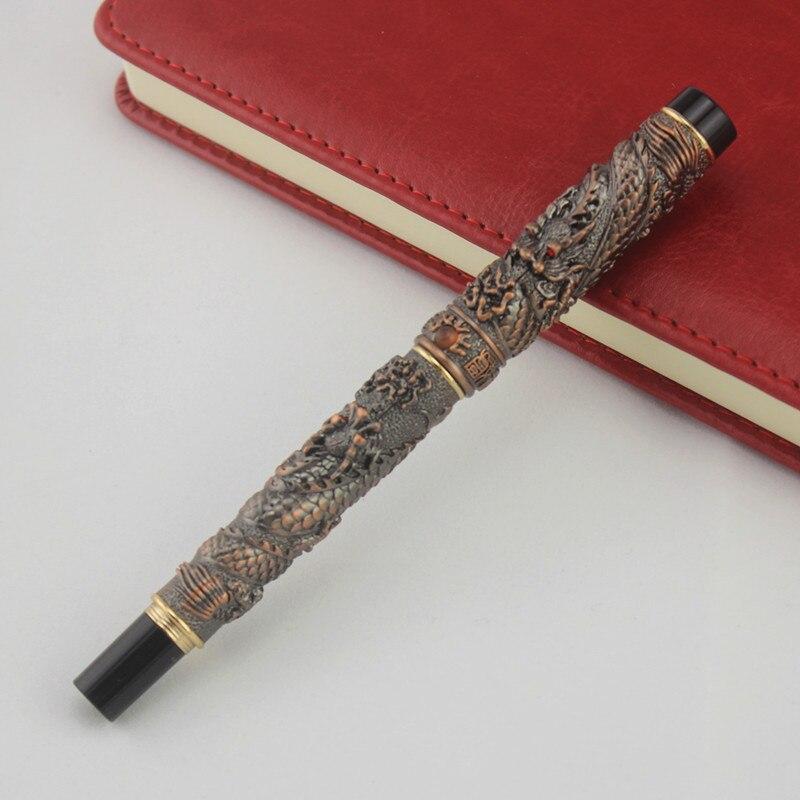 JINHAO 41 медный ролик ручка с драконом тиснение Кристалл Бесплатная доставка купить на AliExpress