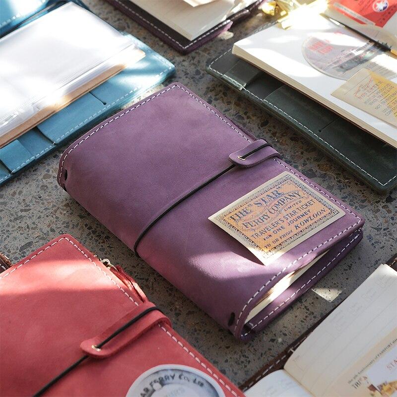 2018 Yiwi Retro Travel Loose Notepad Crazy Horse Leather Standard Portable TN Handbook Planner With Zip Bag it ethics handbook