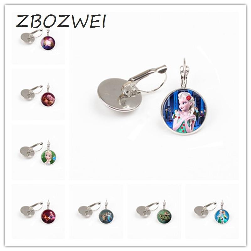 ZBOZWEI Elsa Anna Olaf fever cartoon earring girl jewelry round earring women girls gift for children silver neck lace