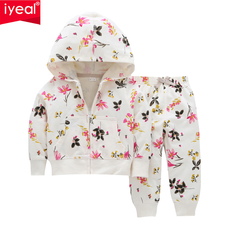IYEAL Fashion Infant Baby Girls Clothes Set Long Sleeve Hooded Floral Sweatshirt Tops+ Long Pants Outfits Set Tracksuit 0-24M floral baby girls clothes long sleeve sweatshirt pants outfits 2pcs hooded clothes set