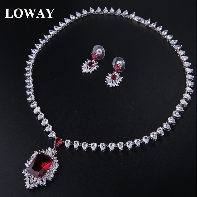 LOWAY Women Luxury Red  CZ  White Gold Plated Necklaces Earrings Wedding Jewelry Sets XL1888