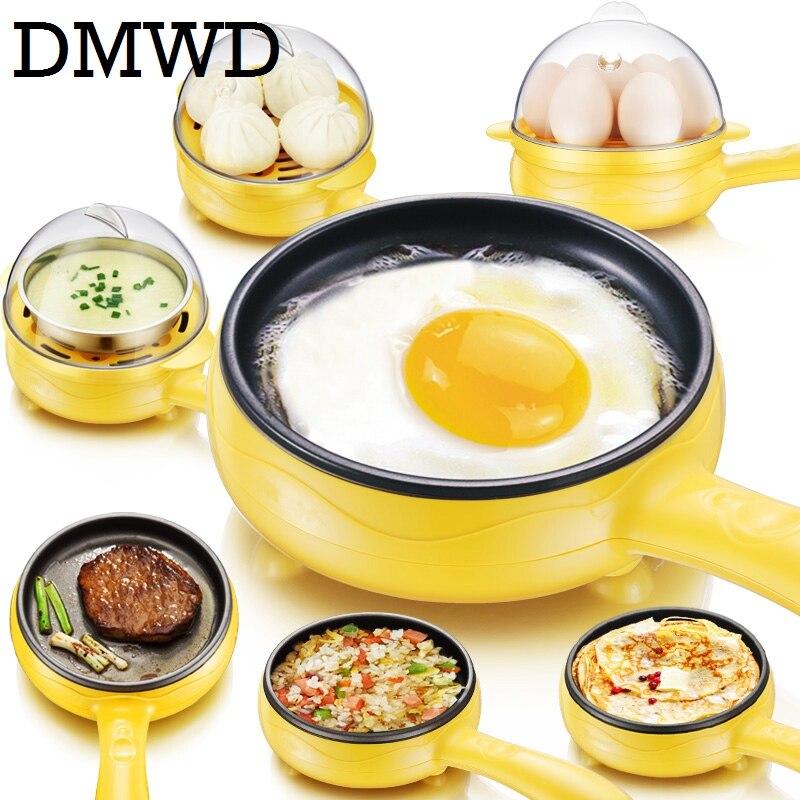 DMWD Multifunction household mini egg omelette Pancakes Electric Fried Steak Frying Pan Non-Stick Boiled eggs boiler steamer EU