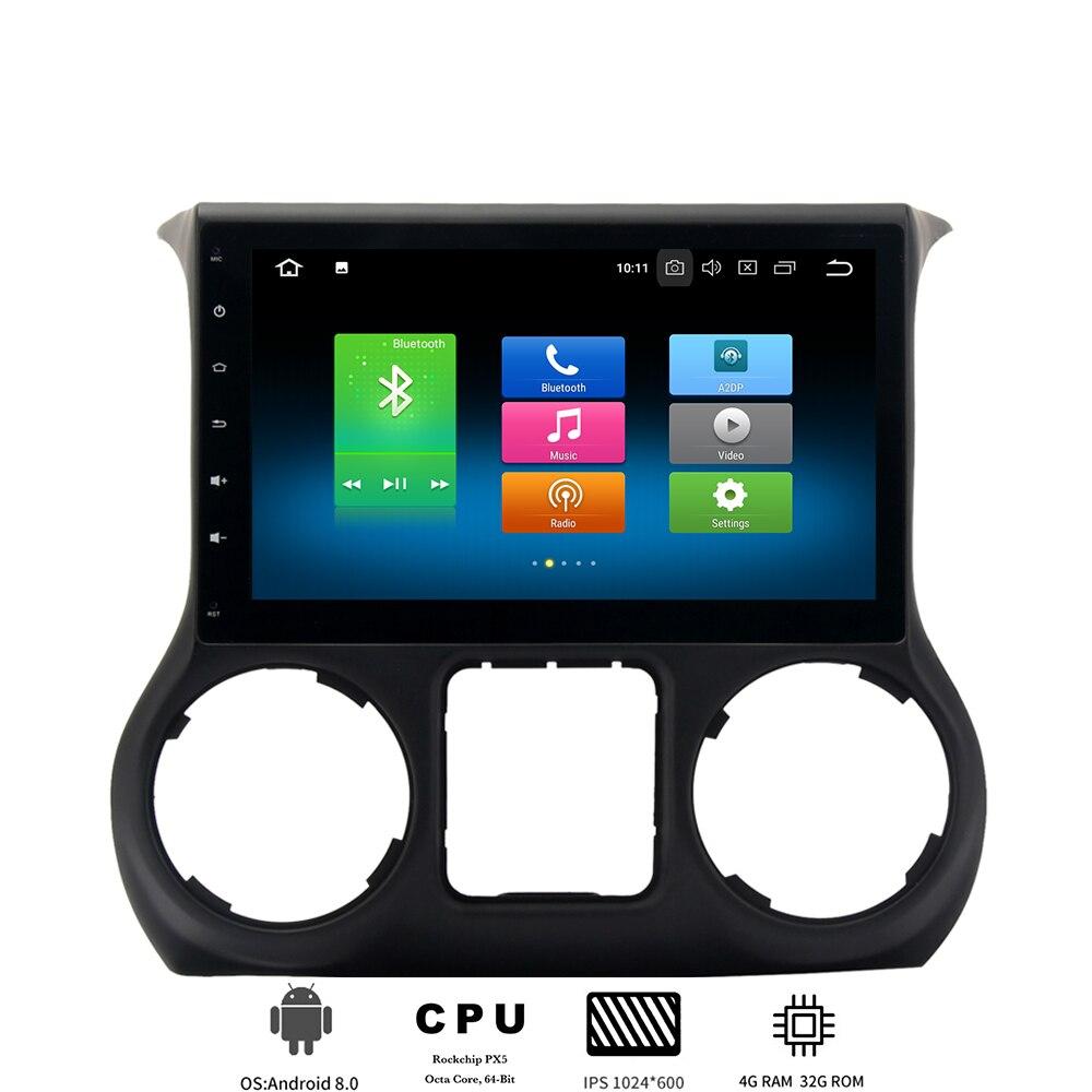 1 din Android 8.0 lecteur multimédia de voiture pour Jeep Wrangler 2011 2012 2013 2014 2015 2016 autoradio avec 8 cœurs 4 Gb + 32 Gb PX5 DAB +