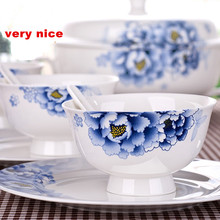 Ceramic bone china 56 pieces of Chinese blue and white porcelain tableware plate creative dishes chopsticks