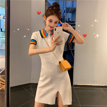 Fashion Women Dress Summer Casual Dresses Polo Collar Rainbow Short Sleeve Knit