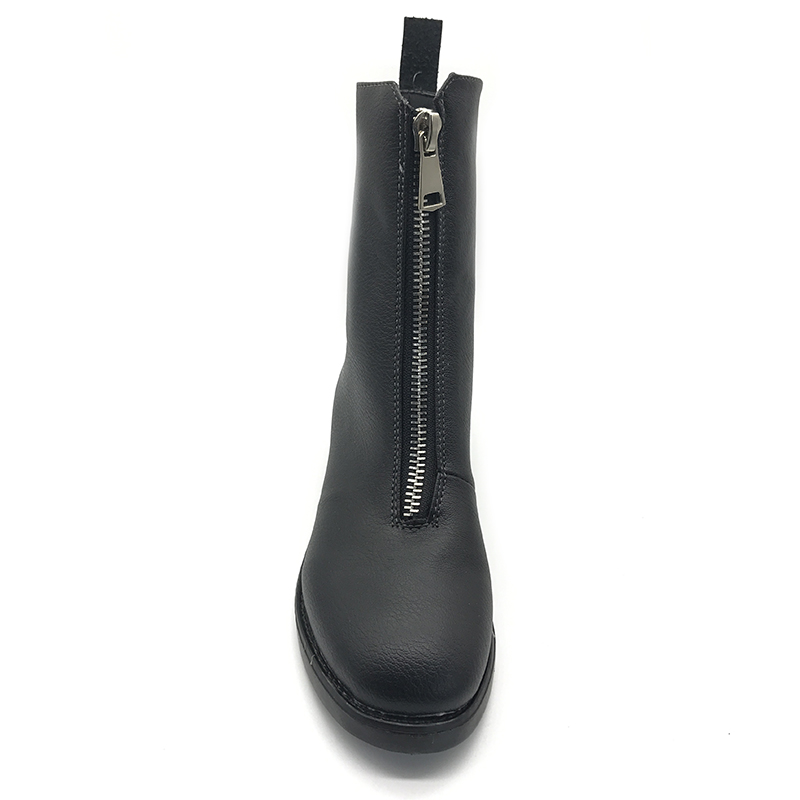 Tacón Botas Covoyyar Mujer Moda Británica Wbs230 De Zapatos Bajo 2017 Tobillo Cremallera Martin Otoño Negro Grueso Invierno Delantera Negros Para Con 6ddxwS