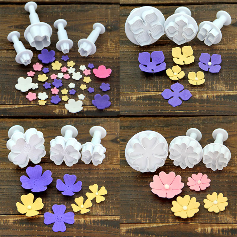Flower Fondant Cake Mold Plastic Cookie Cutter Decorating Tools Biscuits Pastry Baking Sugarcraft