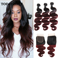 1b 99J Ombre Brazilian Hair With Closure 10A Brazilian Virgin Hair Body Wave With Closure Ombre Human Hair Weave With Closure