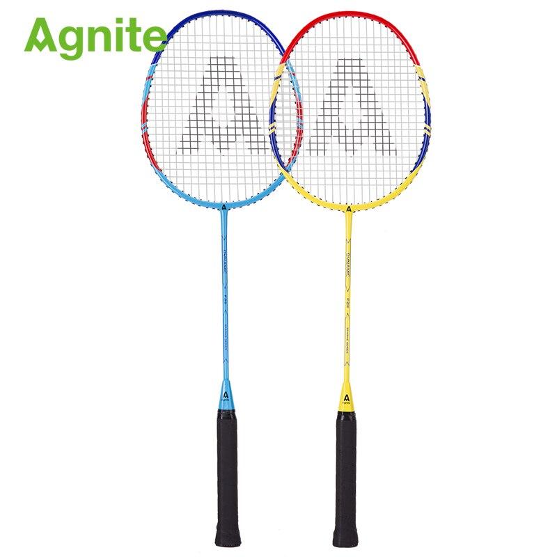 Agnite classic light aluminum alloy one badminton racket badminton racket men and women mixed doubles feather shot gift 3 balls