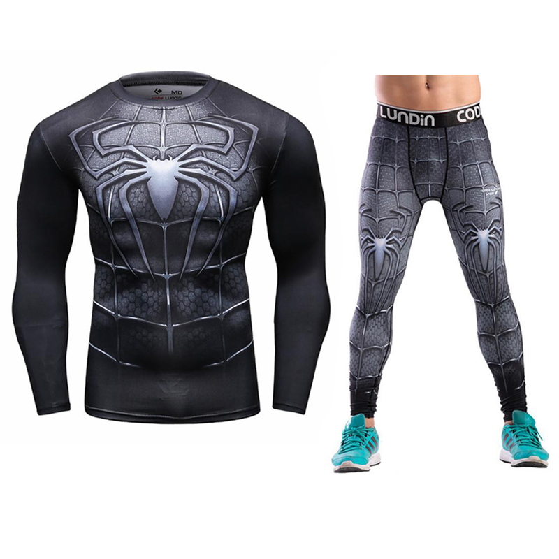 Newest MMA rashguard Long sleeves fitness t-shirt man compression set T-shirt mens 3D Printed tights union suit Tight Tops ...