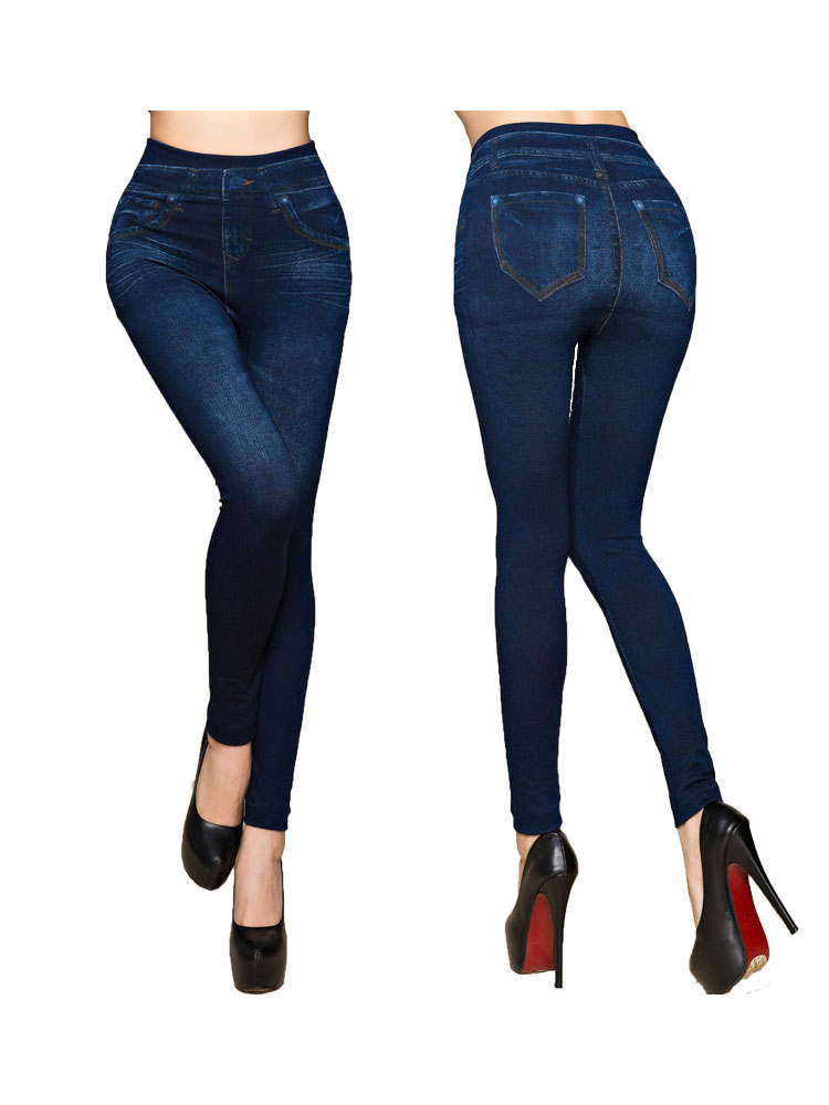 Womens 8-16 New Soft Touch Brushed Cotton Blue Jegging Jean Trouser 30 Inch Leg